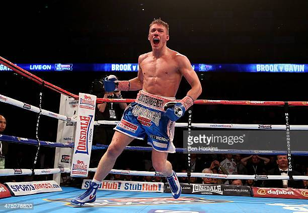 Nick Blackwell of England celebrates after defeating John Ryder of England during their British Middleweight Championship fight at The O2 Arena on...