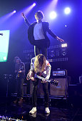 Nick Bockrath and Matt Shultz of Cage The Elephant performs onstage during the iHeartRadio LIVE performance and QA at the iHeartRadio Theater on...