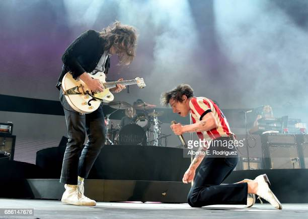 Nick Bockrath and Matthew Shultz of Cage The Elephant perform onstage at KROQ Weenie Roast y Fiesta 2017 at StubHub Center on May 20 2017 in Carson...