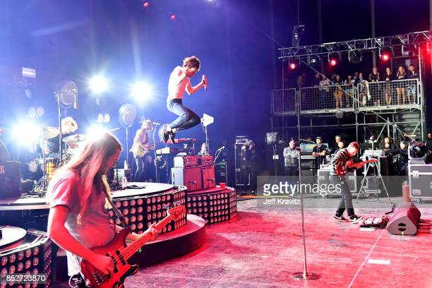 Nick Bockrath Matt Shultz and Brad Shultz of Cage The Elephant performs on Downtown Stage during day 2 of the 2017 Life Is Beautiful Festival on...