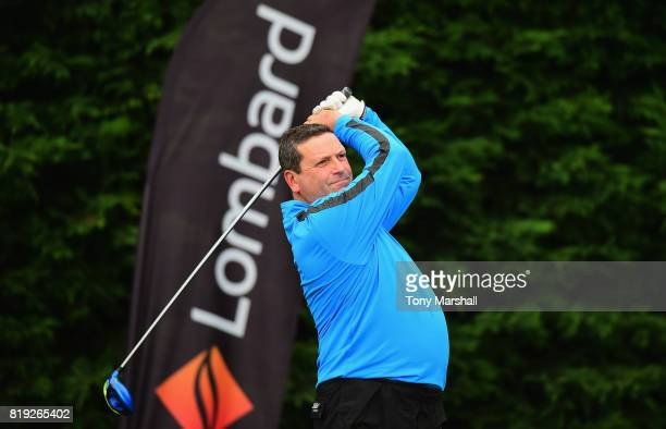 Nick Boisover of Old Fold Manor Golf Club plays his first shot on the 1st tee during the PGA Lombard Trophy East Qualifier at Sandy Lodge Golf Club...