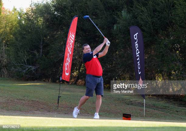 Nick Bolsover of Old Fold Manor Golf Club plays his first shot on the 1st tee during The Lombard Trophy Final Day One on September 21 2017 in...