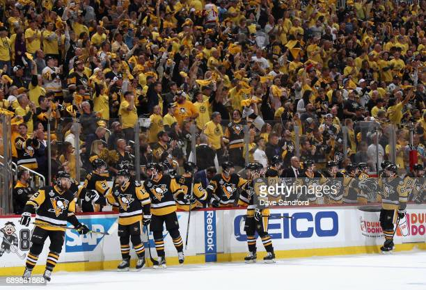Nick Bonino and the Pittsburgh Penguins are congratulated by the bench after Bonino scored a goal in the first period of Game One of the 2017 NHL...