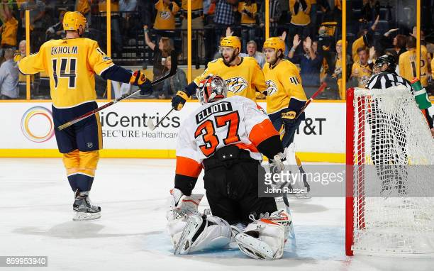 Nick Bonino celebrates his goal with Mattias Ekholm and Pontus Aberg of the Nashville Predators against Brian Elliott of the Philadelphia Flyers...