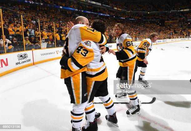 Nick Bonino Conor Sheary Carl Hagelin and Jake Guentzel of the Pittsburgh Penguins celebrate after Game Six of the 2017 NHL Stanley Cup Final at the...