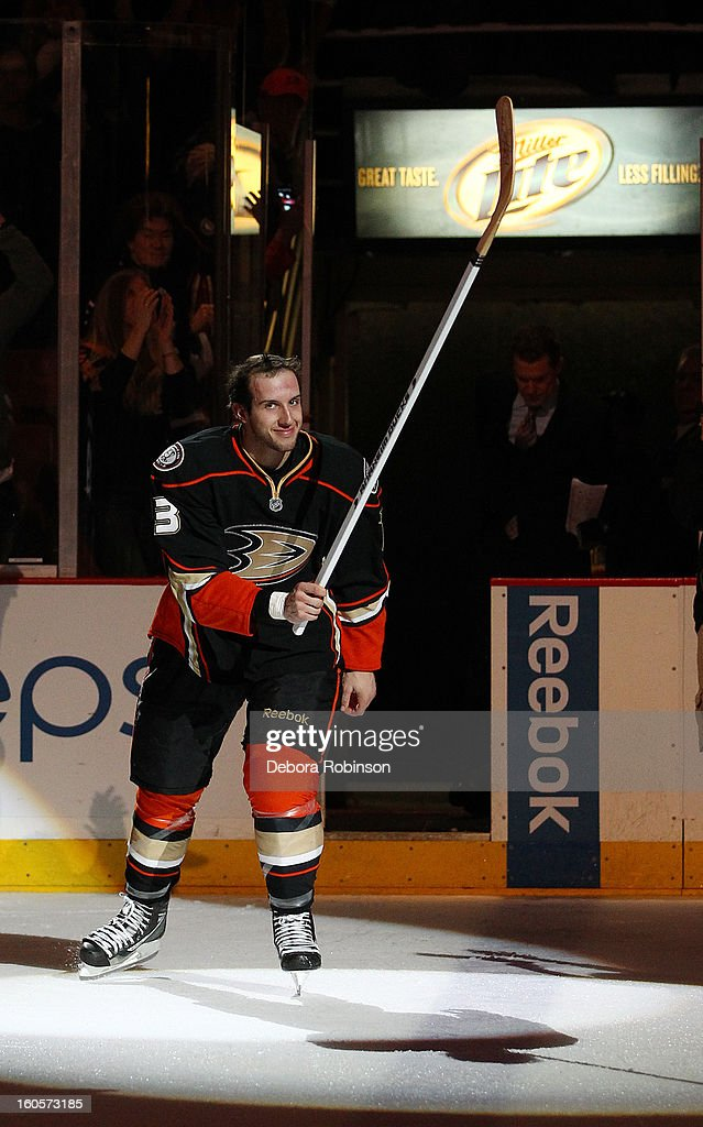 Nick Bonino #13 of the Anaheim Ducks acknowledges the crowd after the game against the Los Angeles Kings in which he recorded his 1st career hat trick on February 2, 2013 at Honda Center in Anaheim, California.