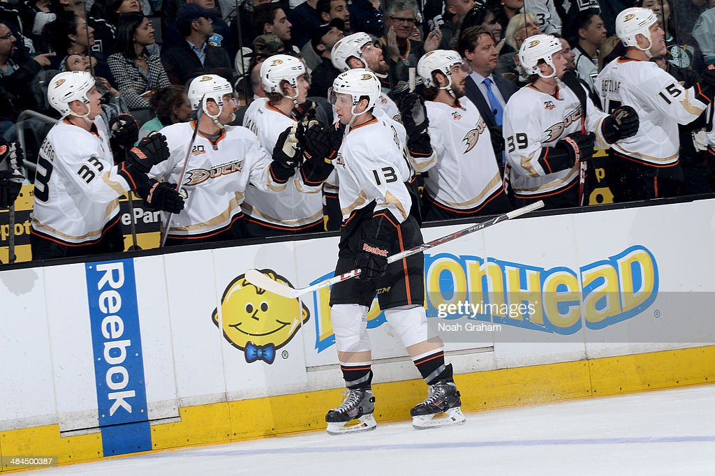 Nick Bonino #13 of the Anaheim Ducks celebrate with the bench after scoring a goal against the Los Angeles Kings at Staples Center on April 12, 2014 in Los Angeles, California.