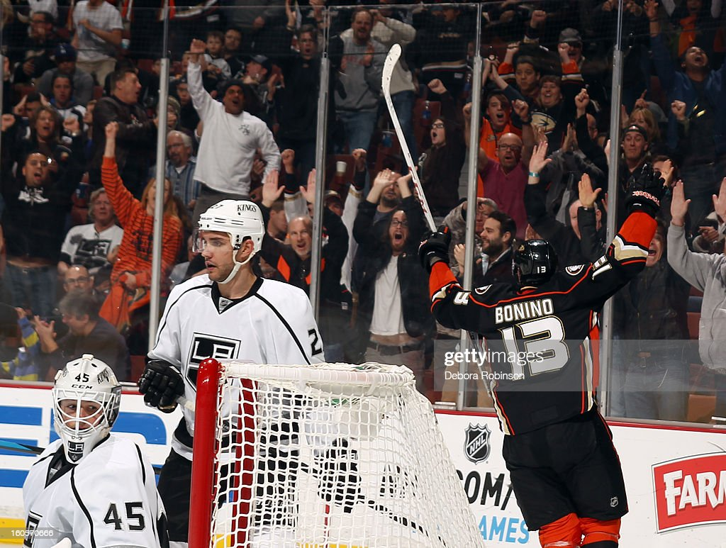 Nick Bonino #13 of the Anaheim Ducks celebrates after scoring his third goal of the game for the hat trick during the game against the Los Angeles Kings on February 2, 2013 at Honda Center in Anaheim, California.