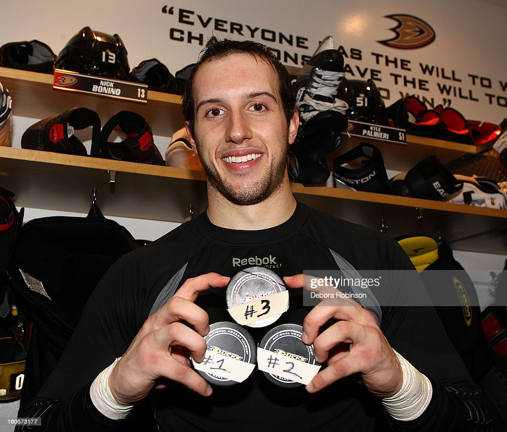 Nick Bonino #13 of the Anaheim Ducks poses for a photo after the game against the Los Angeles Kings in which he recorded his 1st career hat trick on February 2, 2013 at Honda Center in Anaheim, California.