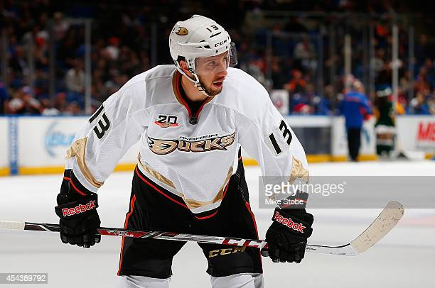 Nick Bonino of the Anaheim Ducks skates against the New York Islanders at Nassau Veterans Memorial Coliseum on December 21 2013 in Uniondale New York...