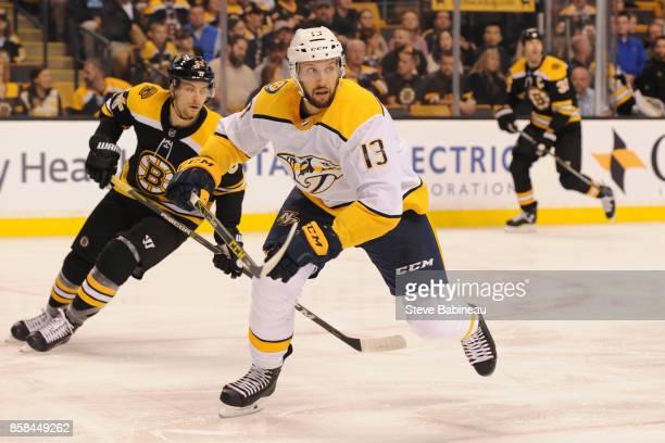 Nick Bonino of the Nashville Predators skates against the Boston Bruins at the TD Garden on October 5 2017 in Boston Massachusetts