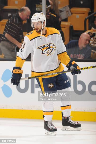 Nick Bonino of the Nashville Predators warms up before the game against the Boston Bruins at the TD Garden on October 5 2017 in Boston Massachusetts