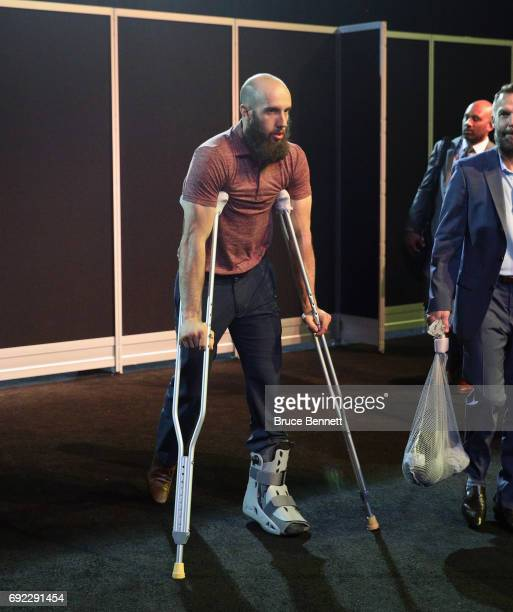 Nick Bonino of the Pittsburgh Penguins arrives for practice at the Bridgestone Arena on June 4 2017 during the 2017 NHL Stanley Cup Finals in...