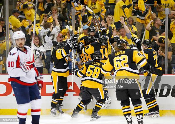 Nick Bonino of the Pittsburgh Penguins celebrates his game winning overtime goal against the Washington Capitals in Game Six of the Eastern...