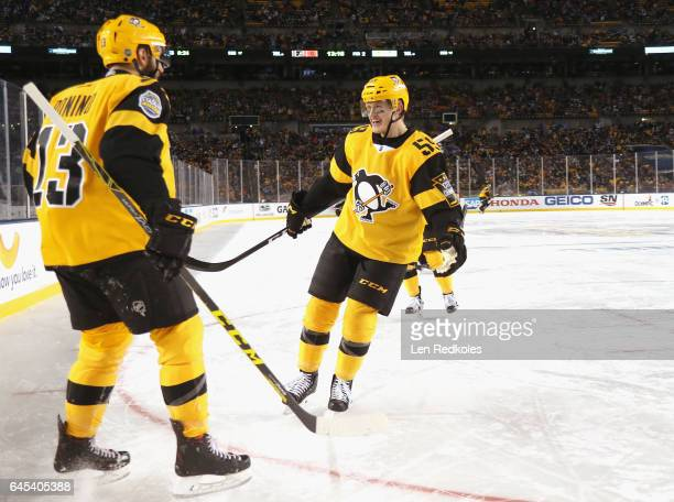Nick Bonino of the Pittsburgh Penguins celebrates his goal with Jake Guentzel during the second period of the 2017 Coors Light NHL Stadium Series...