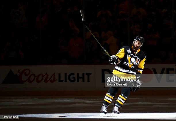 Nick Bonino of the Pittsburgh Penguins is announced as one of the stars of the game after the Pittsburgh Penguins defeated the Nashville Predators 53...