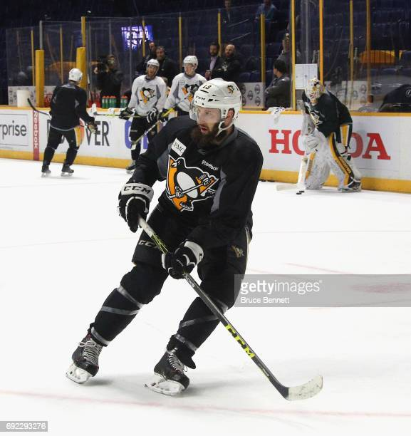 Nick Bonino of the Pittsburgh Penguins skates during practice at the Bridgestone Arena on June 4 2017 during the 2017 NHL Stanley Cup Finals in...