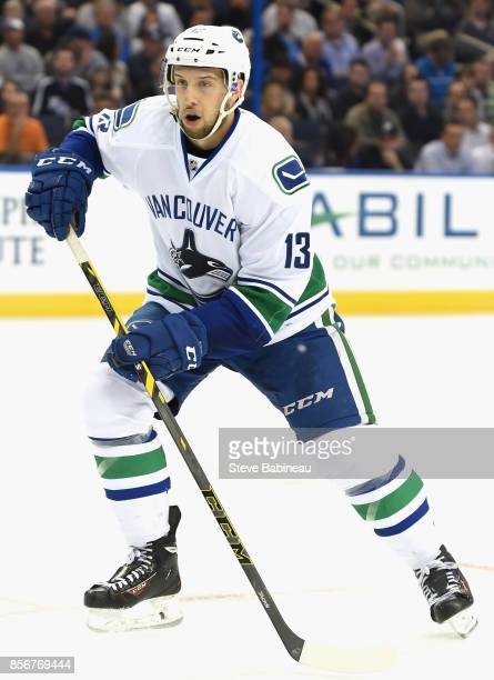 Nick Bonino of the Vancouver Canucks plays in a game against the Tampa Bay Lightning at Amalie Arena on January 20 2015 in Tampa Florida