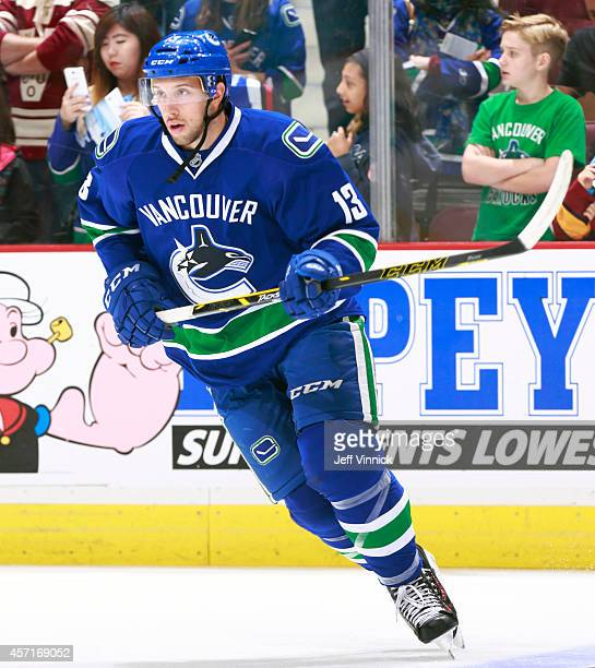 Nick Bonino of the Vancouver Canucks skates up ice during their NHL game against the Edmonton Oilers at Rogers Arena October 11 2014 in Vancouver...