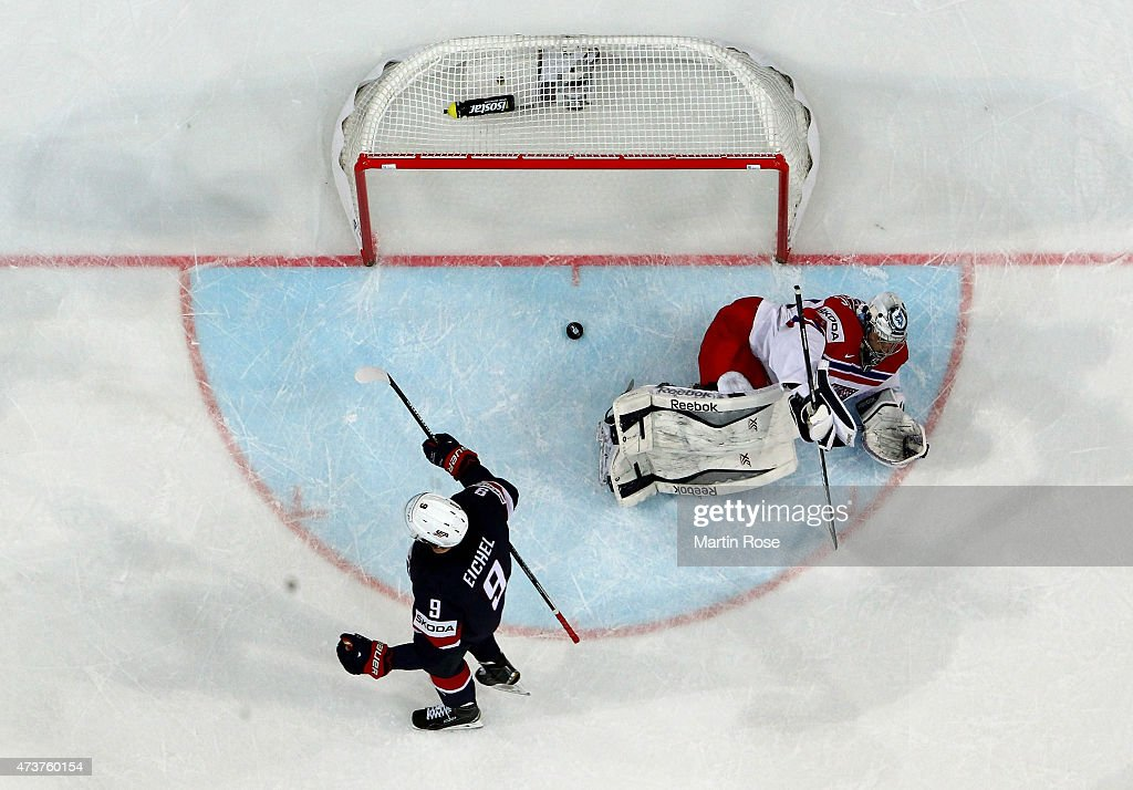 Nick Bonino #13 of USA celebrates after he scores his team's opening goal during the IIHF World Championship bronze medal match between Crech Republic and USA at O2 Arena on May 17, 2015 in Prague, Czech Republic.