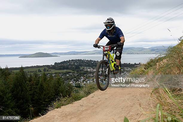 Nick Bowes from New Zealand racing in the Air DH race at Crankworx Rotorua on March 11 2016 in Rotorua New Zealand