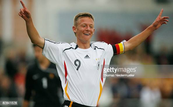 Nick Brisevac of Germany celebrates his goal during the Men's U16 international match between Germany and Belgium on September 16 2008 in Hassloch...