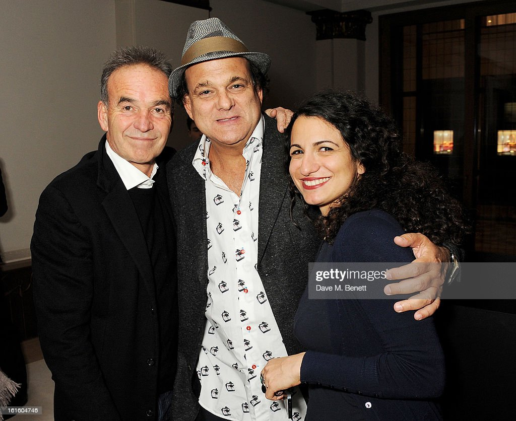 Nick Broomfield, Gerry Fox and guest attend a private dinner hosted by Lucy Yeomans celebrating Jason Brooks at Cafe Royal on February 12, 2013 in London, England.