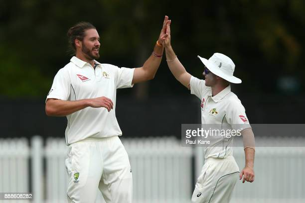 Nick Buchanan of the CA XI celebrates the wicket of Dan Lawrence of England during the Two Day tour match between the Cricket Australia CA XI and...