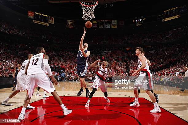 Nick Calathes of the Memphis Grizzlies goes up for a shot against the Portland Trail Blazers in Game Four of the Western Conference Quarterfinals...