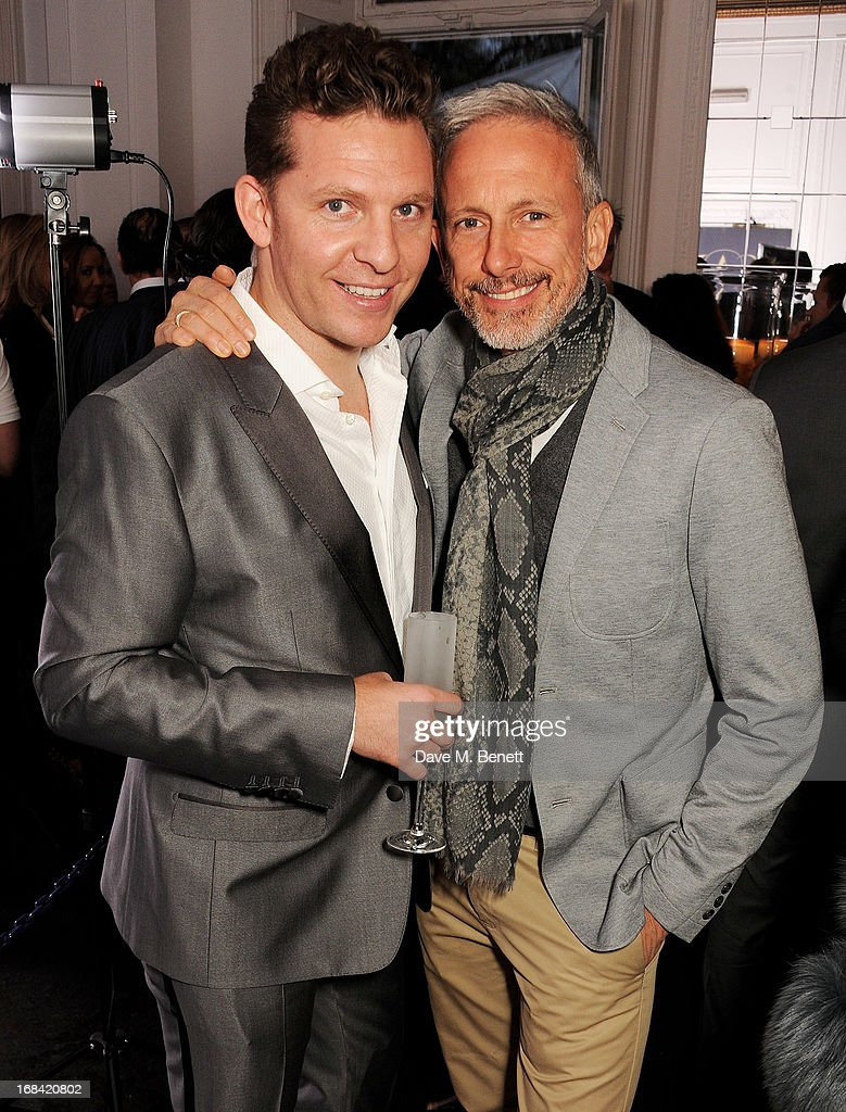 Nick Candy (L) and Patrick Cox attend the launch of Candy Magazine's Spring/Summer 2013 issue, supported by Grey Goose, at Il Bottaccio on May 9, 2013 in London, England.