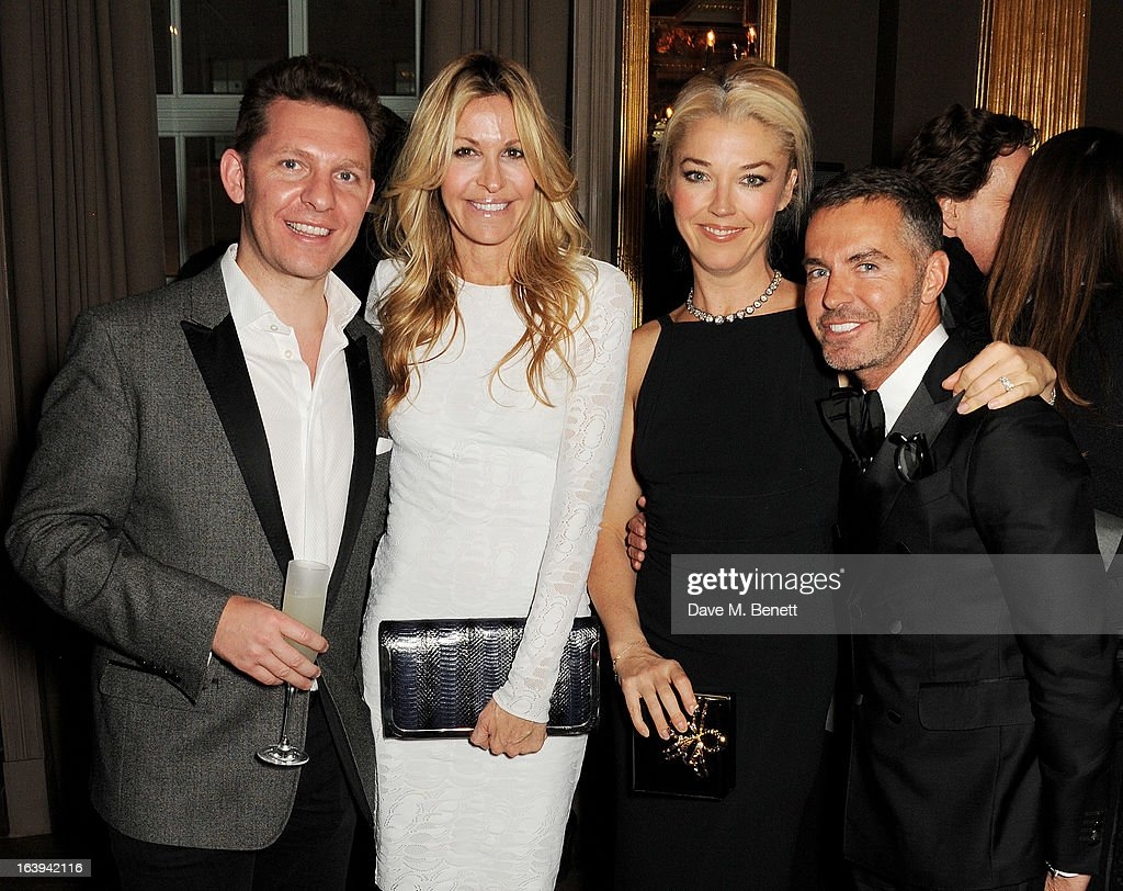 Nick Candy, Melissa Odabash, Tamara Beckwith and Dean Caten attend a party celebrating Patrick Cox's 50th Birthday party at Cafe Royal on March 15, 2013 in London, England.