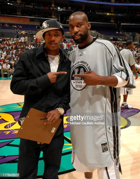 Nick Cannon and Baron Davis during A Midsummer Night's AllStar Basketball Game on July 9 2006 at the Staples Center in Los Angeles Calif