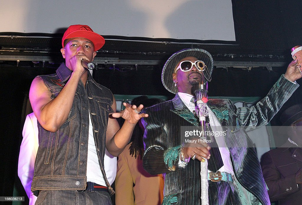 Nick Cannon and Bishop Don 'Magic' Juan attend The Official International Players Ball 2012 and birthday celebration for Arch Bishop Don Magic Juan at Key Club on December 8, 2012 in West Hollywood, California.