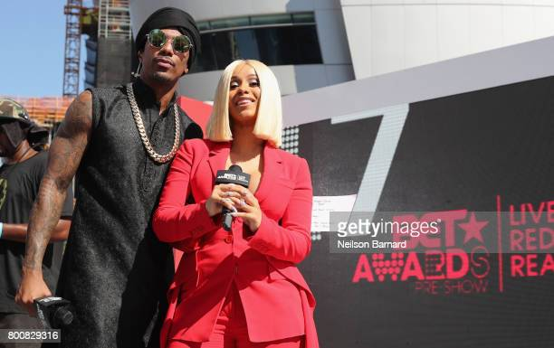 Nick Cannon and Cardi B at Live Red Ready PreShow at the 2017 BET Awards at Microsoft Square on June 25 2017 in Los Angeles California