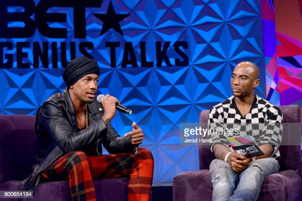 Nick Cannon and Charlamagne Tha God at day one of Genius Talks sponsored by ATT during the 2017 BET Experience at Los Angeles Convention Center on...
