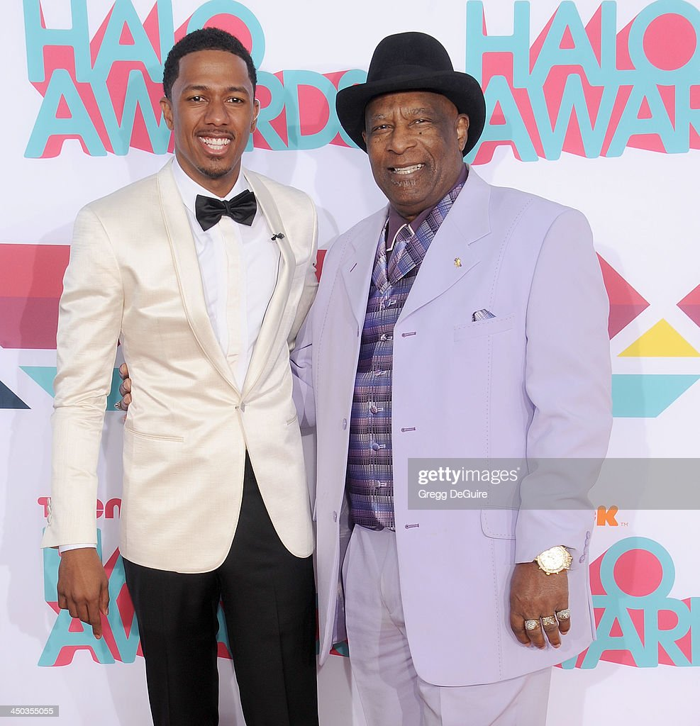 <a gi-track='captionPersonalityLinkClicked' href=/galleries/search?phrase=Nick+Cannon&family=editorial&specificpeople=202208 ng-click='$event.stopPropagation()'>Nick Cannon</a> and grandfather James Cannon arrive at the 2013 TeenNick HALO Awards at the Hollywood Palladium on November 17, 2013 in Hollywood, California.