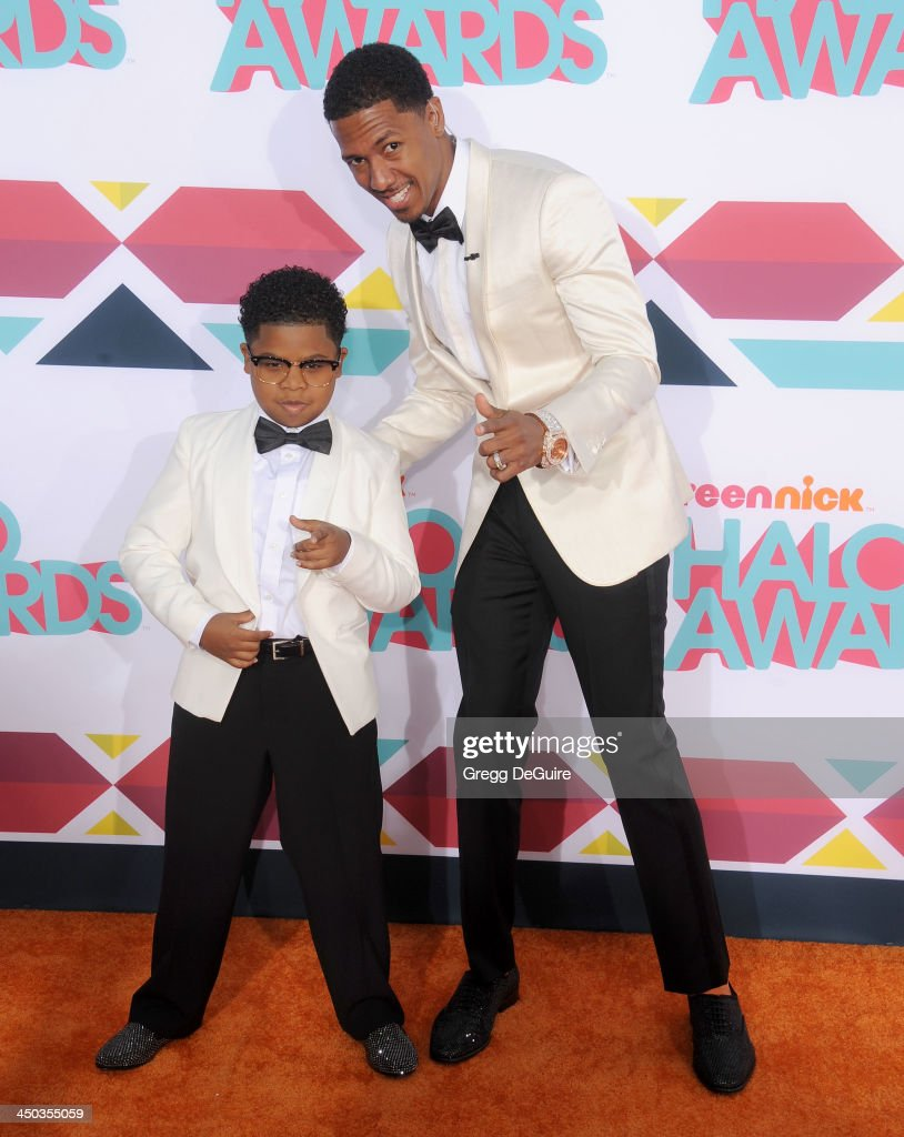<a gi-track='captionPersonalityLinkClicked' href=/galleries/search?phrase=Nick+Cannon&family=editorial&specificpeople=202208 ng-click='$event.stopPropagation()'>Nick Cannon</a> and Lil P-Nut arrive at the 2013 TeenNick HALO Awards at the Hollywood Palladium on November 17, 2013 in Hollywood, California.