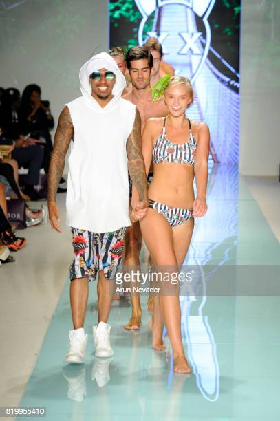 Nick Cannon and models walk the runway during Mister Triple X at Miami Swim Week Art Hearts Fashion at FUNKSHION Tent on July 20 2017 in Miami Florida