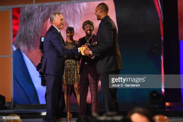 Nick Cannon and Paul Pierce presents the Coach of the Year Award to Mike D'Antoni during the 2017 NBA Awards Show on June 26 2017 at Basketball City...