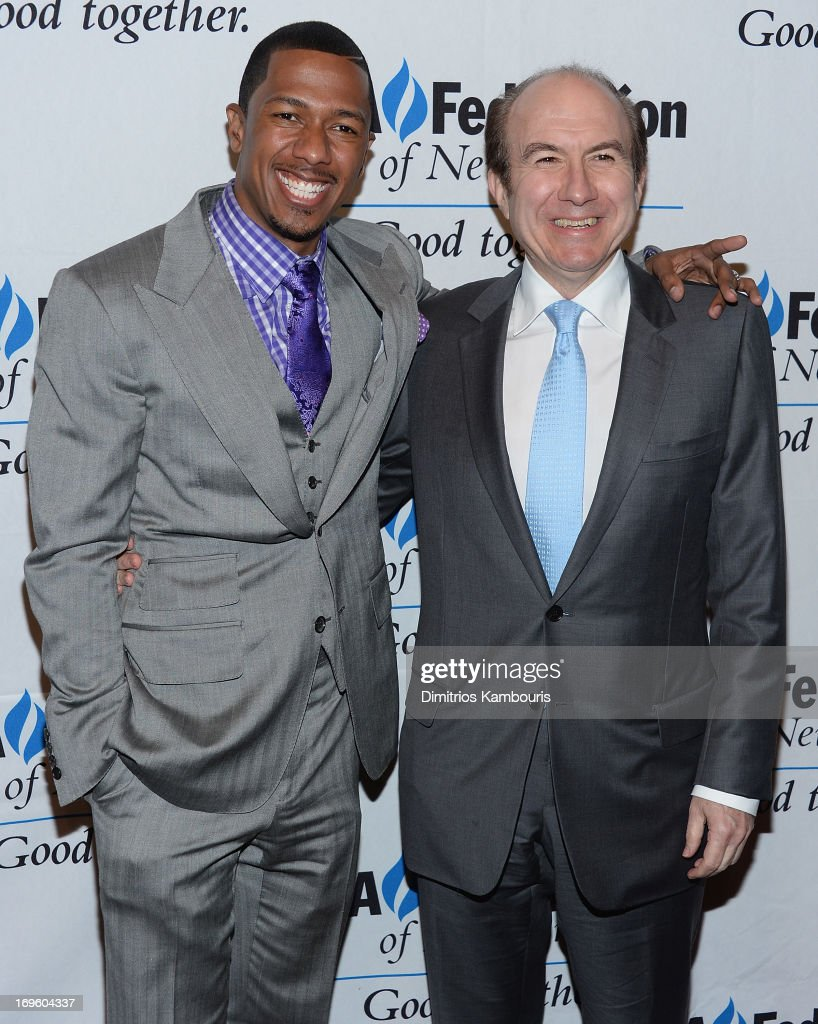 <a gi-track='captionPersonalityLinkClicked' href=/galleries/search?phrase=Nick+Cannon&family=editorial&specificpeople=202208 ng-click='$event.stopPropagation()'>Nick Cannon</a> and President and CEO of Viacom Philippe Pierre Dauman attend the UJA-Federation Of New York Entertainment, Media And Communications Leadership Awards Dinner at Pier Sixty at Chelsea Piers on May 28, 2013 in New York City.