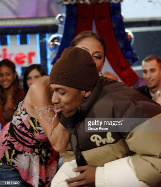 Nick Cannon and Vanessa Minnillo during Nick Cannon Visits MTV's 'TRL' February 2 2006 at MTV's Studio Times Square in New York CIty New York United...