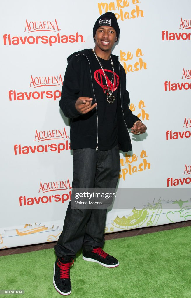 Nick Cannon arrives at Aquafina FlavorSplash Launch Party With Austin Mahone & Nick Cannon at Sony Pictures Studios on October 15, 2013 in Culver City, California.