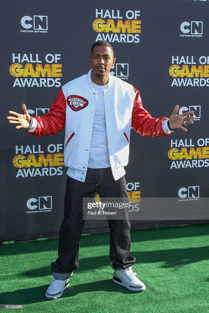 <a gi-track='captionPersonalityLinkClicked' href=/galleries/search?phrase=Nick+Cannon&family=editorial&specificpeople=202208 ng-click='$event.stopPropagation()'>Nick Cannon</a> arrives at the 3rd Annual Cartoon Network's 'Hall Of Game' Awards held at Barker Hangar on February 9, 2013 in Santa Monica, California.