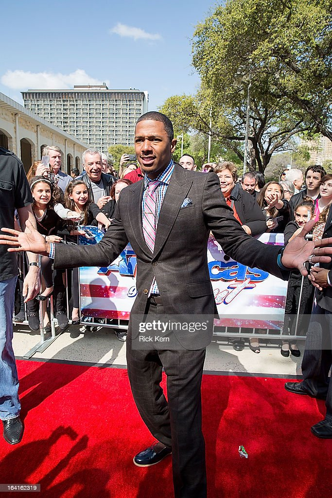 <a gi-track='captionPersonalityLinkClicked' href=/galleries/search?phrase=Nick+Cannon&family=editorial&specificpeople=202208 ng-click='$event.stopPropagation()'>Nick Cannon</a> arrives at the 'America's Got Talent' Season 8 auditions at the Lila Cockrell Theatre on March 20, 2013 in San Antonio, Texas.