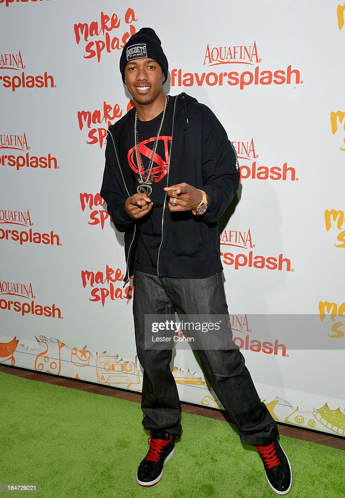 <a gi-track='captionPersonalityLinkClicked' href=/galleries/search?phrase=Nick+Cannon&family=editorial&specificpeople=202208 ng-click='$event.stopPropagation()'>Nick Cannon</a> attends Aquafina Launch of FlavorSplash at Sony Pictures Studios on October 15, 2013 in Culver City, California.