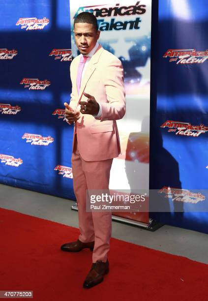 Nick Cannon attends Season 9 of America's Got Talent auditions at New Jersey Performing Arts Center on February 20 2014 in Newark New Jersey