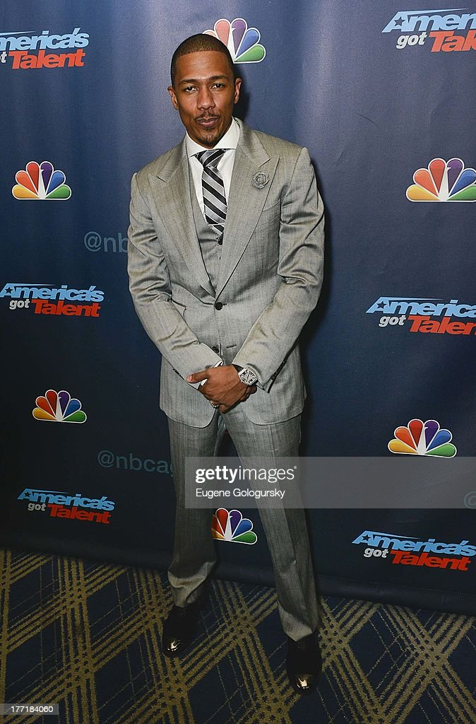 <a gi-track='captionPersonalityLinkClicked' href=/galleries/search?phrase=Nick+Cannon&family=editorial&specificpeople=202208 ng-click='$event.stopPropagation()'>Nick Cannon</a> attends the 'America's Got Talent' post show red carpet at Radio City Music Hall on August 21, 2013 in New York City.