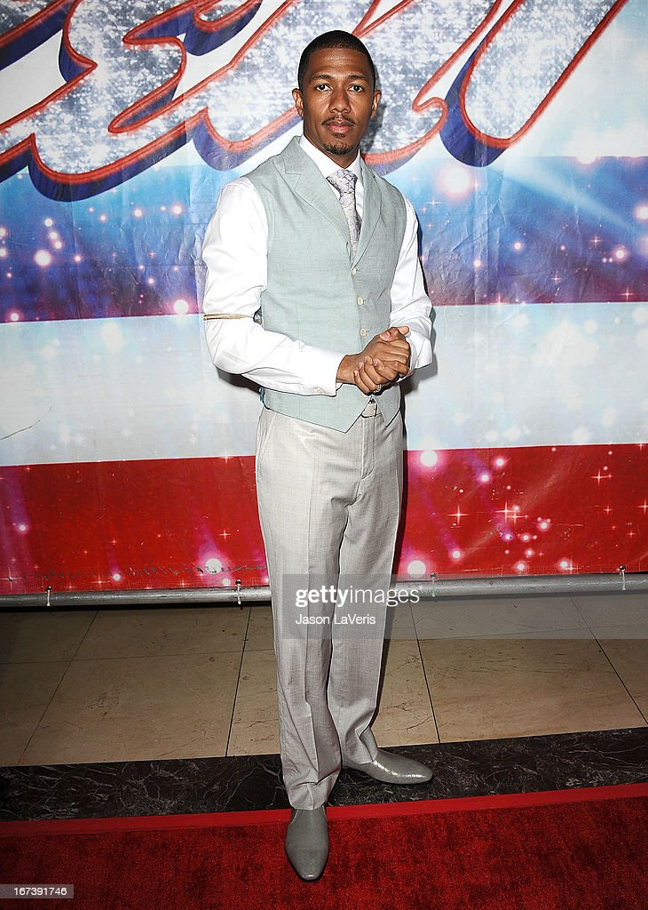 <a gi-track='captionPersonalityLinkClicked' href=/galleries/search?phrase=Nick+Cannon&family=editorial&specificpeople=202208 ng-click='$event.stopPropagation()'>Nick Cannon</a> attends the 'America's Got Talent' season eight premiere party at the Pantages Theatre on April 24, 2013 in Hollywood, California.