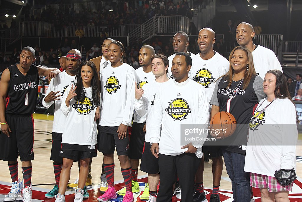 Nick Cannon, Ne-Yo, Rocsi Diaz, Trey Songz, Josh Hutcherson, Usain Bolt and Queen Latifah of Team East attend the 2013 NBA All-Star Celebrity Game at George R. Brown Convention Center on February 15, 2013 in Houston, Texas.
