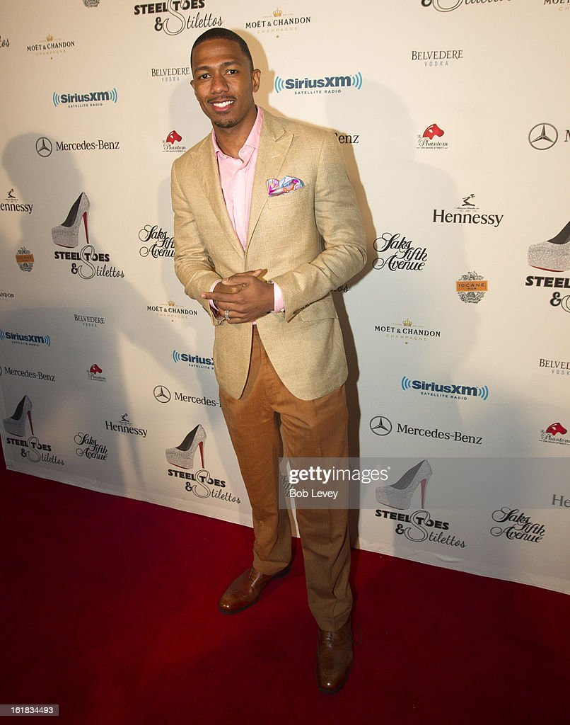 <a gi-track='captionPersonalityLinkClicked' href=/galleries/search?phrase=Nick+Cannon&family=editorial&specificpeople=202208 ng-click='$event.stopPropagation()'>Nick Cannon</a> on the red carpet at Beverly Hills Sports And Entertainment Group Present The Event: Steel Toes And Stilettos Party at The Phantom on February 16, 2013 in Houston, Texas.